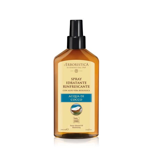 Spray hidratant, revigorant pentru par, l'Erboristica, cu apa naturala de cocos si suc organic de aloe vera, 200 ml