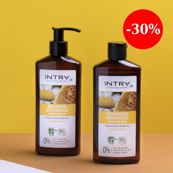 Set INTRA îngrijire păr blond (șampon 250ml + balsam 250ml)